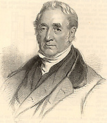 George Stephenson (1781-1848) English mechanical engineer and railway pioneer.   Engineer of the Stockton and Darlington Railway (1825), he made a survey for the Liverpool and Manchester Railway (1824) and was appointed engineer to the line 1826. In 1829 he won the Rainhill Trials with his locomotive 'Rocket' which had a tubular boiler.  Engraving from 'Das Buch der Erfindungen Gewerbe und Industrien' (Leipzig, 1896-1901).
