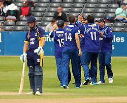 Gloucestershire celebrate the wicket of Durham's Mark Stoneman - Mandatory by-line: Robbie Stephenson/JMP - 07966386802 - 04/08/2015 - SPORT - CRICKET - Bristol,England - County Ground - Gloucestershire v Durham - Royal London One-Day Cup