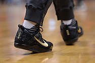 PHOENIX, AZ - APRIL 13:  A detail view of the Nike sneakers worn by Devin Booker (1) of the Phoenix Suns during warm ups prior to the game against the Los Angeles Clippers at Talking Stick Resort Arena on April 13, 2016 in Phoenix, Arizona.  NOTE TO USER: User expressly acknowledges and agrees that, by downloading and or using this photograph, User is consenting to the terms and conditions of the Getty Images License Agreement.  (Photo by Jennifer Stewart/Getty Images)