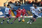 Crawley Town Midfielder, Luke Gambin (11) , Bury Defender, Adam Thompson (5) and Bury Midfielder, Callum McFadzean (21) during the EFL Sky Bet League 2 match between Bury and Crawley Town at the JD Stadium, Bury, England on 2 February 2019.