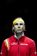 18.09.2015. Odense, Denmark. <br /> Rafael Nadal of Spain before the game against Mikael  Torpegaard of Denmark during their Davis Cup match.<br /> Photo: © Ricardo Ramirez.