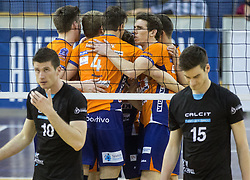 Players of ACH celebrate during volleyball match between ACH Volley and Calcit Volleyball in Round #3 of Finals of 1. DOL Slovenian Championship 2014/15, on April 19, 2015 in Hala Tivoli, Ljubljana, Slovenia.  Photo by Vid Ponikvar / Sportida