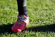 Leeds United midfielder Eunan O'Kane (14) with rainbow laces during the EFL Sky Bet Championship match between Barnsley and Leeds United at Oakwell, Barnsley, England on 25 November 2017. Photo by Simon Davies.