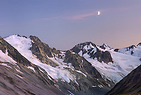 Half Moon above Peaks of Boulder/Salal Divide, Coast Range British Columbia Canada