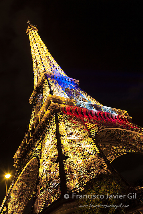 Eiffel tower at 14 July, Paris, Ile-de-france, France