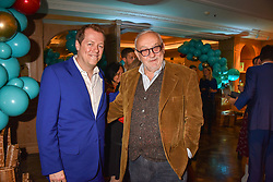 Left to right, Tom Parker Bowles and Pierre Koffman at the launch of the Fortnum & Mason Christmas & Other Winter Feasts Cook Book by Tom Parker Bowles held at Fortnum & Mason, 181 Piccadilly, London, England. 17 October 2018.