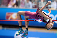Mutaz Essa Barshim of Qatar competes in men's high jump final during the IAAF Athletics World Indoor Championships 2014 at Ergo Arena Hall in Sopot, Poland.<br /> <br /> Poland, Sopot, March 9, 2014.<br /> <br /> Picture also available in RAW (NEF) or TIFF format on special request.<br /> <br /> For editorial use only. Any commercial or promotional use requires permission.<br /> <br /> Mandatory credit:<br /> Photo by © Adam Nurkiewicz / Mediasport
