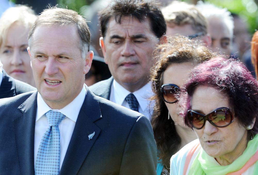 Prime Minister John Key is escorted by Kuia Titiwhai Harawira is welcomed onto the Te Tii Marae, Waitangi, New Zealand, Tuesday, February 05, 2013. Credit:SNPA / Ross Setford