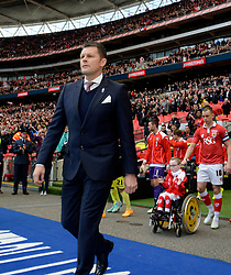 Bristol City manager, Steve Cotterill leads the team out  - Photo mandatory by-line: Joe Meredith/JMP - Mobile: 07966 386802 - 22/03/2015 - SPORT - Football - London - Wembley Stadium - Bristol City v Walsall - Johnstone Paint Trophy Final