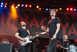 July 3, 2018 - Milwaukee, Wisconsin, U.S - JOSEPH MORINELLI, DANIEL ARMBRUSTER and PAUL BRENNER of Joywave during Summerfest Music Festival at Henry Maier Festival Park in Milwaukee, Wisconsin (Credit Image: © Daniel DeSlover via ZUMA Wire)