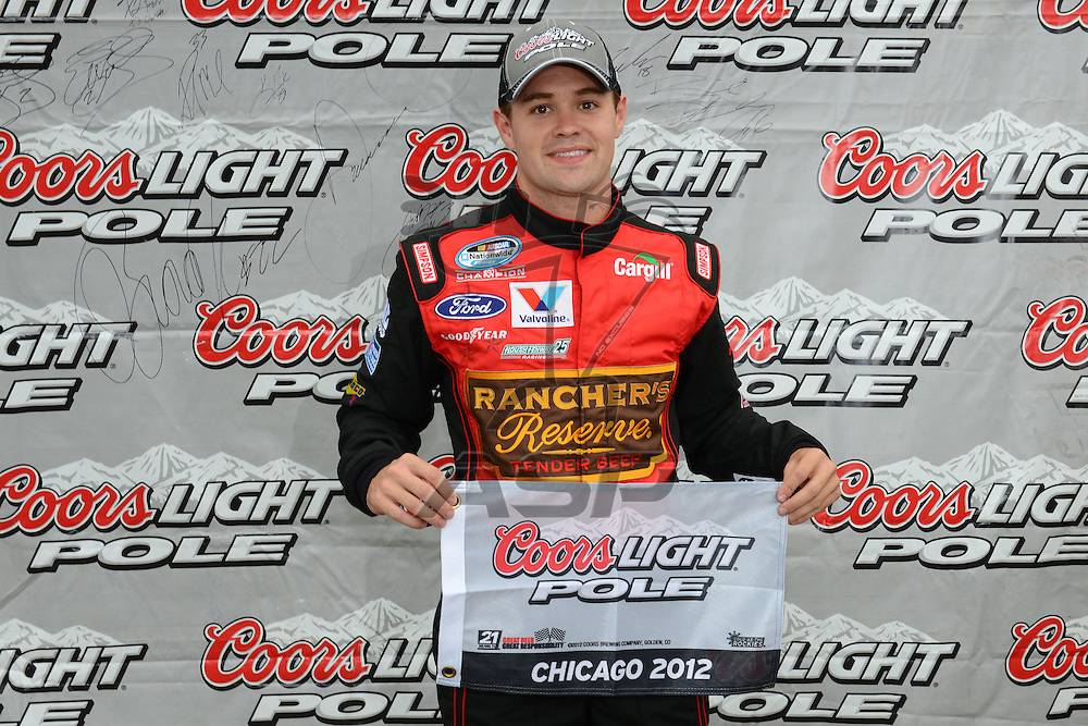 Joliet,Il - JUL 22, 2012: Ricky Stenhouse, Jr. (6) wins the pole award during qualifying for the STP 300 at Chicagoland Speedway in Joliet, Il.