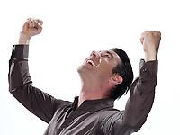 man portrait success triumphant happy studio isolated on white background