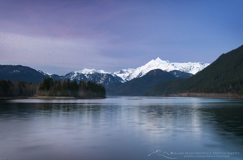 Mount Shuksan (9131 feet, 2783 meters) seen from Baker Lake, North Cascades Washington
