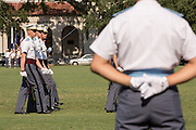A member of the Citadel Military College corps of cadets reviews the troops during the first Friday Dress Parade on September 6, 2013 in Charleston, South Carolina. The Friday Dress Parade is a tradition at the Citadel going back to 1843.