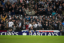 NEWCASTLE, ENGLAND - Saturday, December 11, 2010: Newcastle United's captain Kevin Nolan celebrates scoring the opening goal against Liverpool during the Premiership match at St James' Park. (Photo by: David Rawcliffe/Propaganda)