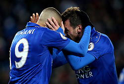 Islam Slimani of Leicester City celebrates with Christian Fuchs of Leicester City after scoring a goal - Mandatory by-line: Robbie Stephenson/JMP - 06/11/2016 - FOOTBALL - King Power Stadium - Leicester, England - Leicester City v West Bromwich Albion - Premier League