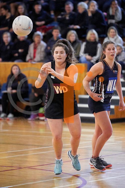 Woodford/Iona/Nga Tawa/St Matthews Quad Sports Event, 2018.<br /> Netball/Football/Hockey<br /> Netball - Woodford House vs Iona College