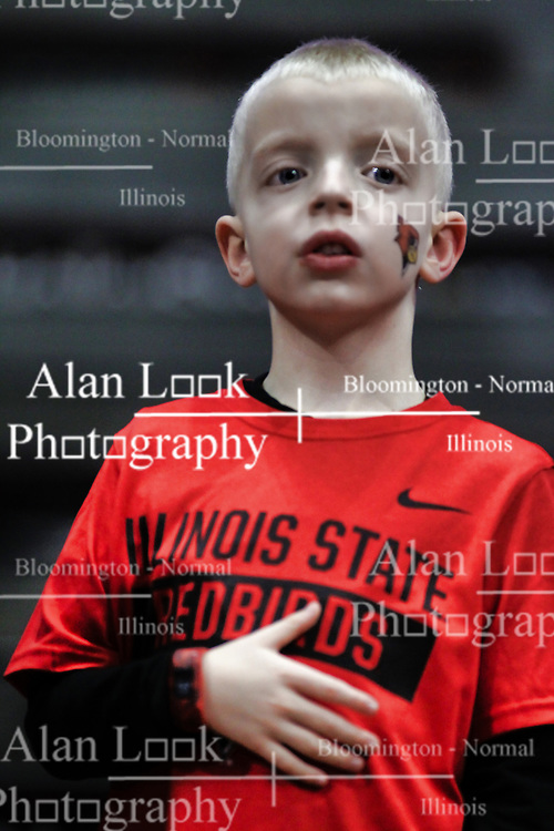 NORMAL, IL - February 02: Fan during national anthem during a college basketball game between the ISU Redbirds and the University of Loyola Chicago Ramblers on February 02 2019 at Redbird Arena in Normal, IL. (Photo by Alan Look)