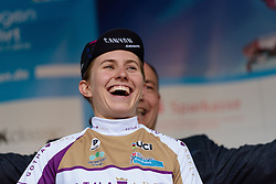Alexis Ryan (CANYON//SRAM Racing) receives the best young rider jersey at Thüringen Rundfarht 2016 - Stage 1 a 67km road race starting and finishing in Gotha, Germany on 15th July 2016.