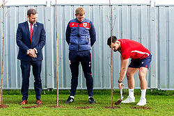 Bailey Wright in action as Representatives of Bristol City take part in a ceremony to plant tree's in memory of the 7 Bristol City player's who lost their lives serving during WW1 - Rogan/JMP - 09/11/2018 - FOOTBALL - Failand Training Ground - Bristol, England.