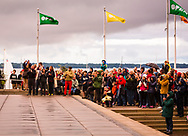The audience looks on as BANDALOOP performs on the exterior of the Memorial Union during the Madison World Music Festival on September 12, 2014.