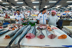 Tuna for sale on stall at Dubai fish market in Deira United Arab Emirates