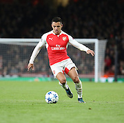 Arsenal striker Alexis Sanchez dribbling into space to launch another attack during the Champions League match between Arsenal and Dinamo Zagreb at the Emirates Stadium, London, England on 24 November 2015. Photo by Matthew Redman.