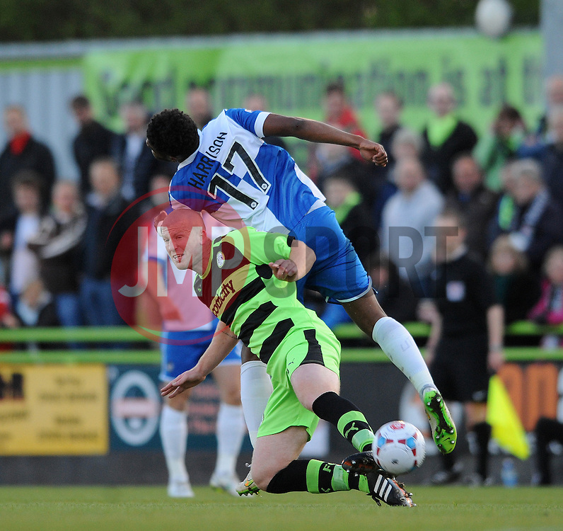 Bristol Rovers' Ellis Harrison challenges for the ariel ball with Forest Green Rovers's Charlie Clough - Photo mandatory by-line: Dougie Allward/JMP - Mobile: 07966 386802 - 29/04/2015 - SPORT - Football - Nailsworth - The New Lawn - Forest Green Rovers v Bristol Rovers - Vanarama Football Conference