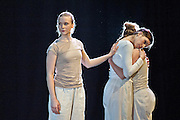 A new work by choreographer/director Jacky Lansley, Guest Suites is inspired by Bach's Cello Suites, six dance suites for unaccompanied cello. Featuring composer Jonathan Eato, & Audrey Riley plays live cello. At the Clore Studio, Royal Opera House, London 2012. Picture shows Huri Murphy, Sanna Eriksson Ryg and  Esther Huss.