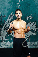 Actor, Adam Rodriguiz works out for a photo shoot for Men's Fitness