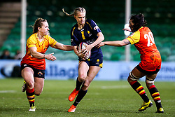 Vicky Laflin of Worcester Warriors Women takes on Sophie Pascall and Freya Aucken of Richmond Women - Mandatory by-line: Robbie Stephenson/JMP - 11/01/2020 - RUGBY - Sixways Stadium - Worcester, England - Worcester Warriors Women v Richmond Women - Tyrrells Premier 15s
