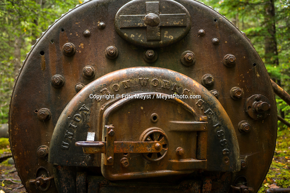 Yukon Territory, Canada, September 2014. A steam boiler that used to run the tramline on the Chilkoot Trail. Gold Rust! Remnants of the Klondyke Gold Rush Left in the Yukon Landscape. The Yukon Territory received world fame during the Klondike Gold Rush in 1898.  Photo by Frits Meyst / MeystPhoto.com