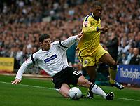 Photo: Steve Bond.<br />Derby County v Southampton. Coca Cola Championship. Play Off Semi Final, 2nd Leg. 15/05/2007. Jon Macken tacles back