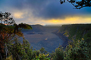 Kilauea Iki, Halemaumau Crater, Erupting in Background, Hawaii Volcanoes National Park, Big Island of Hawaii