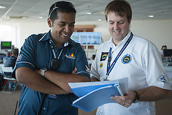 Senior Operations manager Shafique Iqbal and Alpari World Match Racing Tour Director Craig Mitchell discuss the schedule at the 2012 Monsoon Cup. Kuala Terengganu, Malaysia. 7 December 2012. Photo: Subzero Images/Monsoon Cup