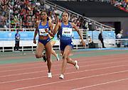 Jun 16, 2019; Rabat, Morocco; Salwa Eid Naser (BRN) defeats Phyllis Francis (USA0 to win the women's 400m in 50.13during the Meeting International Mohammed VI d'Athletisme de Rabat at Prince Moulay Abdellah Stadium.