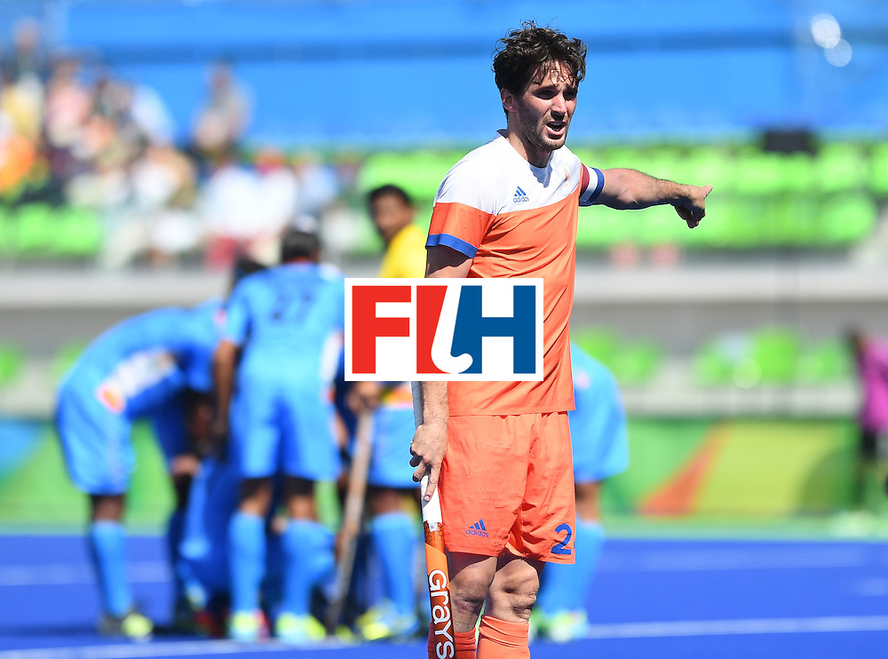 Netherland's Robert van der Horst gestures during the men's field hockey Netherland's vs India match of the Rio 2016 Olympics Games at the Olympic Hockey Centre in Rio de Janeiro on August, 11 2016. / AFP / MANAN VATSYAYANA        (Photo credit should read MANAN VATSYAYANA/AFP/Getty Images)