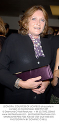 LEONORA, COUNTESS OF LICHFIELD at a party in London on 3rd October 2002.PDT 287