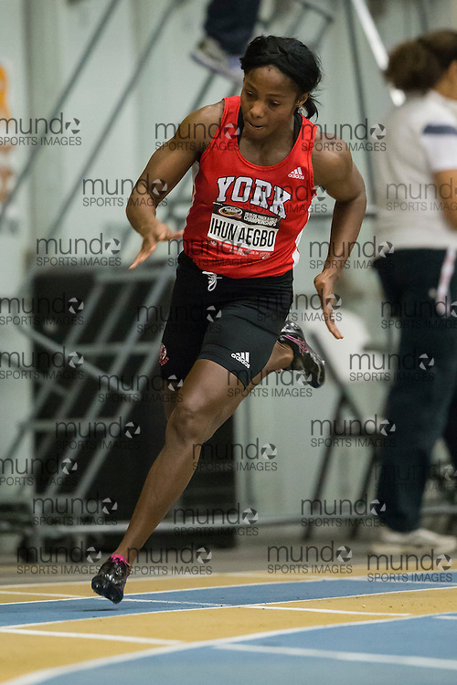 Windsor, Ontario ---2015-03-13--- Christy Ihumaegbo of York University competes in the 300m at the 2015 CIS Track and Field Championships in Windsor, Ontario, March 13, 2015.<br /> GEOFF ROBINS/ Mundo Sport Images