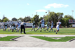 08 September 2012:  Rob Gallik lets a pass fly that ends with an end zone reception for a touchdown during an NCAA division 3 football game between the Alma Scots and the Illinois Wesleyan Titans which the Titans won 53 - 7 in Tucci Stadium on Wilder Field, Bloomington IL