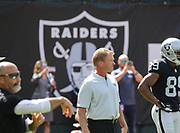 Sep 30, 2018; Oakland, CA, USA; Raiders head coach Jon Gruden prior to a game between the Oakland Raiders and the Cleveland Browns. The Raiders defeated the Browns 45-42 in overtime. Mandatory Credit: Spencer Allen-Image of Sport