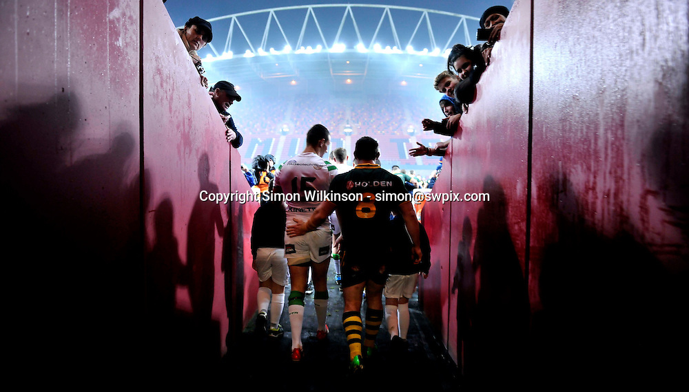 Picture by Simon Wilkinson/SWpix.com - 09/11/2013 - Rugby League - Rugby League World Cup - Australia v Ireland - Thomond Park, Limerick, Ireland - Australia's Paul Gallen and Ireland's James Hasson walk out onto the field for the start of the game.