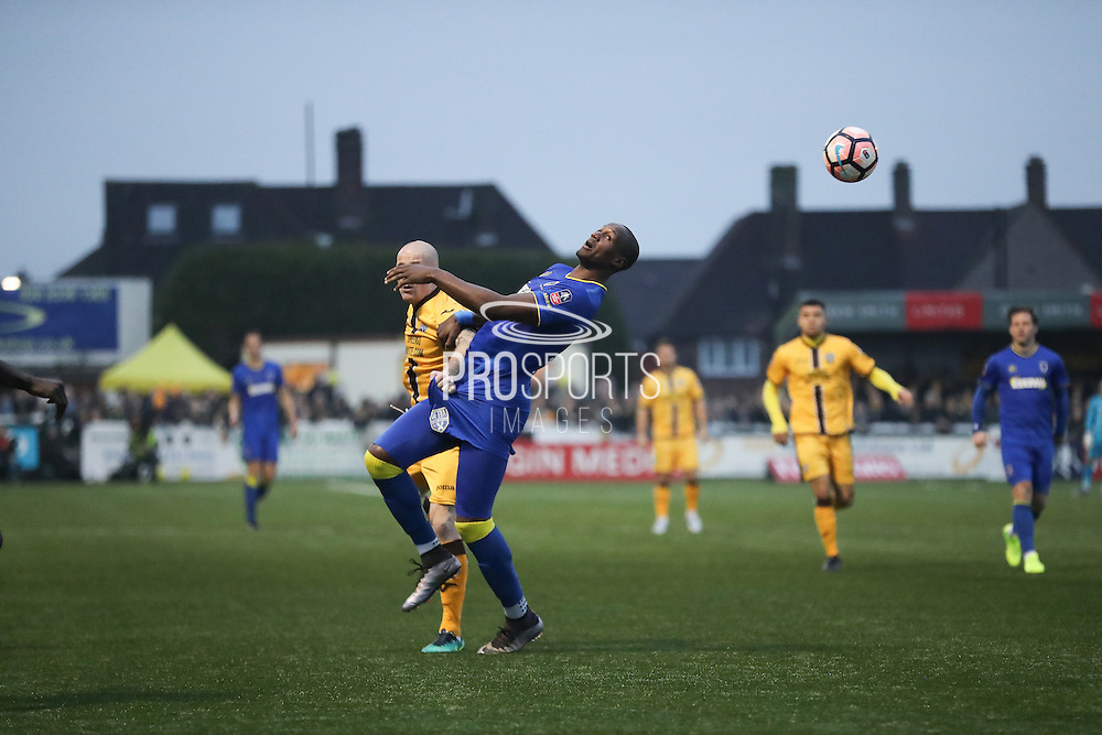 AFC Wimbledon striker Tom Elliott (9) during The FA Cup match between Sutton United and AFC Wimbledon at Gander Green Lane, Sutton, United Kingdom on 7 January 2017. Photo by Stuart Butcher.