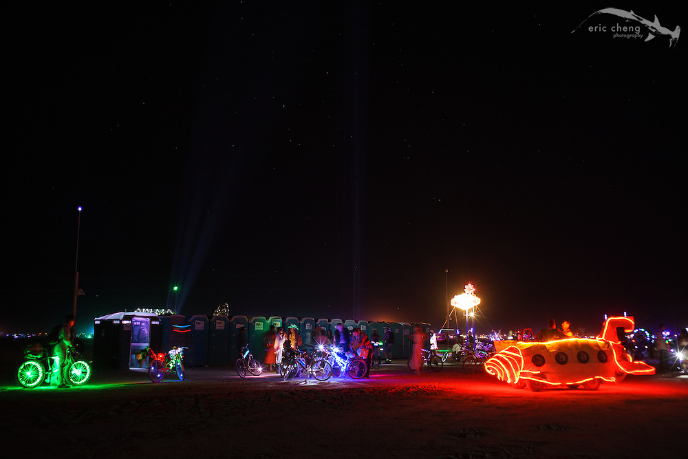 Even the porta-potty location featured art. Burning Man 2014.