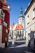"""Streets leading to the  the main square called """"Zizkovo Namesti"""" and to """"The Church of the Transfiguration of Our Lord"""" in the South Bohemian city of Tabor. A group of Jan Hus followers came to a hill where a Premyslid settlement used to be and they founded a town there in the year 1420 and gave it a Biblical name - Tabor. Being led by captains Jan Zizka of Trocnov and Prokop Holy they started out on their victorious battles from there. The foundation of Tabor is connected with the name of Jan Hus, a great reformer of the Catholic Church. In the year 1437 after the Hussites were defeated, the town of Tabor was granted a royal charter by the Holy Roman Emperor and Czech King Sigismund of Luxembourg."""
