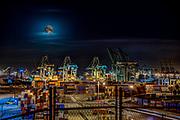 Waterfront; Gantry Cranes; Shipping Containers; Thomas Vincent Bridge; San Pedro; CA;