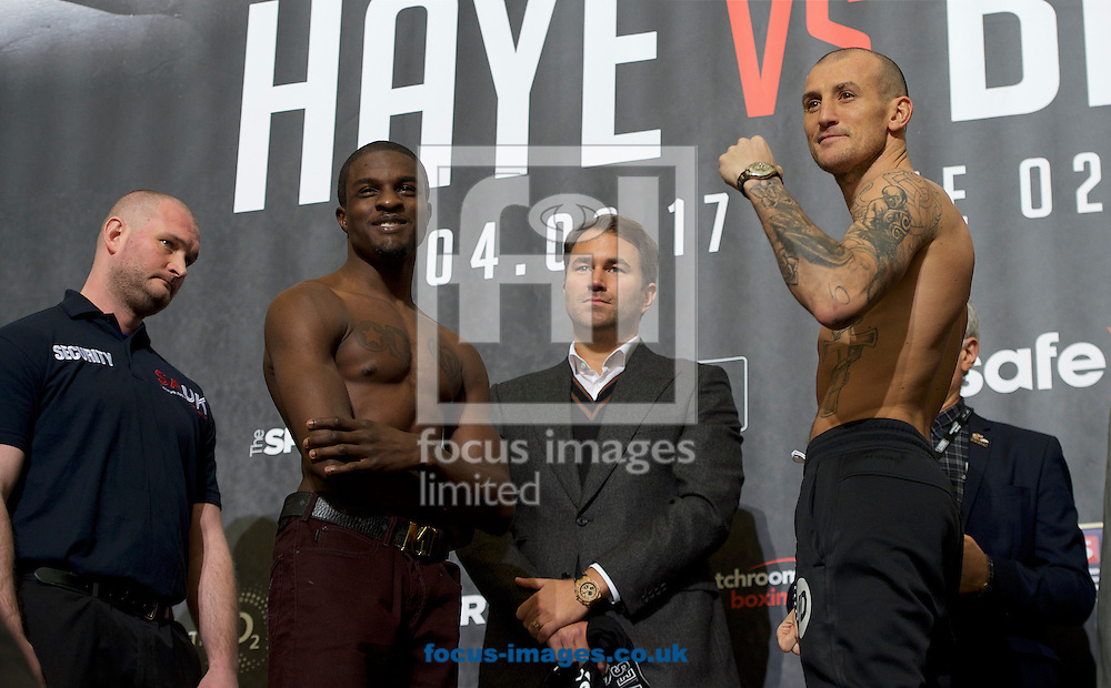 Ohara Davies (left) and Derry Matthews during the weigh in at the O2 Arena, London ahead of their WBC Silver Super-Lightweight Championship contest.<br /> Picture by Alan Stanford/Focus Images Ltd +44 7915 056117<br /> 03/03/2017