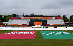 The covers are laid out at Derby's County Ground as rain delays the start of the Women's World Cup match between South Africa Women and New Zealand Women - Mandatory by-line: Robbie Stephenson/JMP - 28/06/2017 - CRICKET - County Ground - Derby, United Kingdom - South Africa Women v New Zealand Women - ICC Women's World Cup Match 6