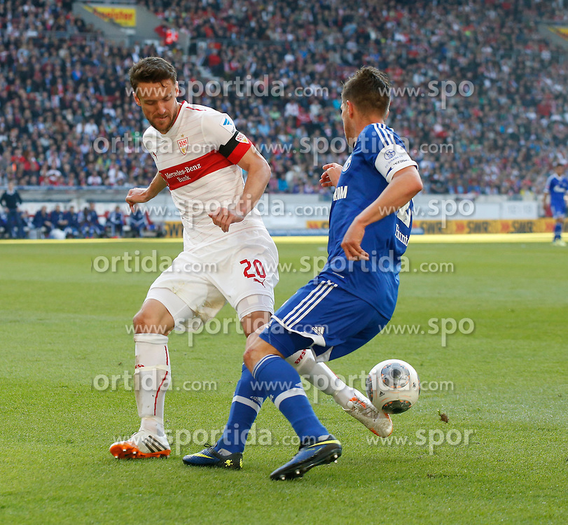 20.04.2014, Mercedes Benz Arena, Stuttgart, GER, 1. FBL, VfB Stuttgart vs Schalke 04, 31. Runde, im Bild Christian Gentner (VfB Stuttgart), Klaas-Jan Huntelaar (FC Schalke 04) // during the German Bundesliga 31th round match between VfB Stuttgart and Schalke 04 at the Mercedes Benz Arena in Stuttgart, Germany on 2014/04/20. EXPA Pictures &copy; 2014, PhotoCredit: EXPA/ Eibner-Pressefoto/ BW-FOTO<br /> <br /> *****ATTENTION - OUT of GER*****