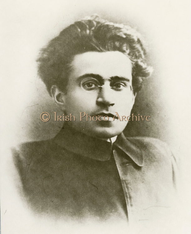 'Antonio Gramsci (1891-1937) Italian writer, political philosopher,  Marxist thinker, and linguist. Founding member and leader of the Italian Communist Party. Imprisoned by Benito Mussolini's Fascist regime.'